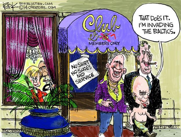 Cartoonist Chip Bok  Chip Bok's Editorial Cartoons 2014-03-25 Barack Obama Vladimir Putin