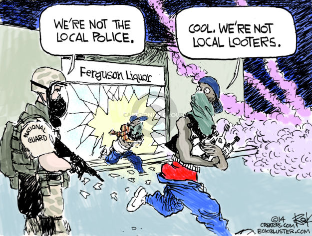 Were not the local police. Cool. Were not the local looters. Ferguson Liquor. National Guard.