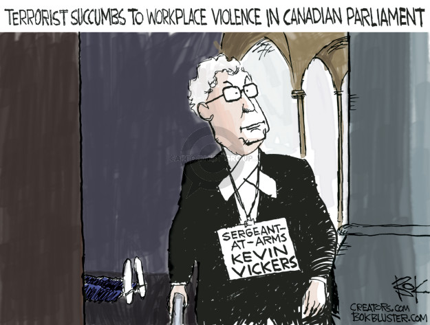 Terrorist succumbs to workplace violence in Canadian Parliament. Sergeant-at-Arms Kevin Vickers.