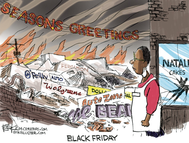 Cartoonist Chip Bok  Chip Bok's Editorial Cartoons 2014-11-27 Ferguson, Missouri