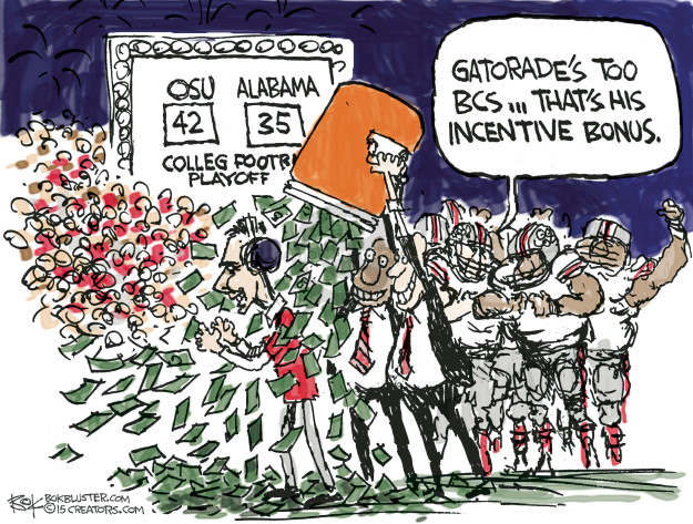 Cartoonist Chip Bok  Chip Bok's Editorial Cartoons 2015-01-03 college sports