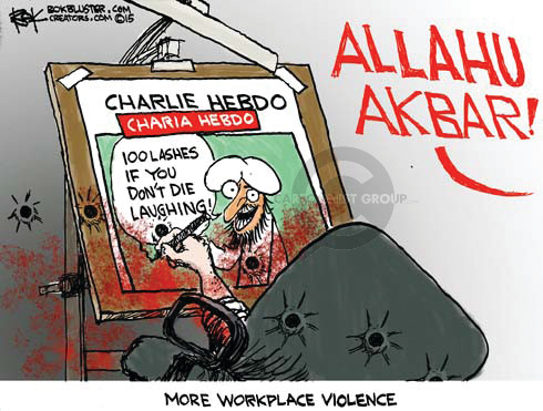 Charlie Hebdo.  Charia Hebdo.  100 lashes if you dont die laughing.  Allahu Akbar!  More workplace violence.