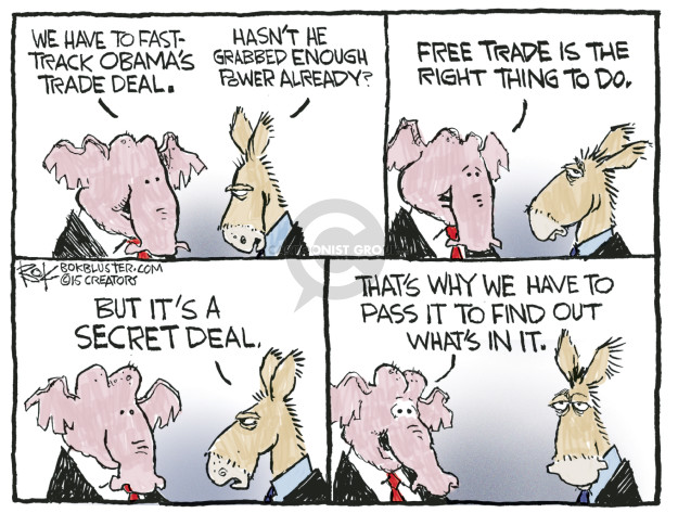 Cartoonist Chip Bok  Chip Bok's Editorial Cartoons 2015-06-12 negotiation