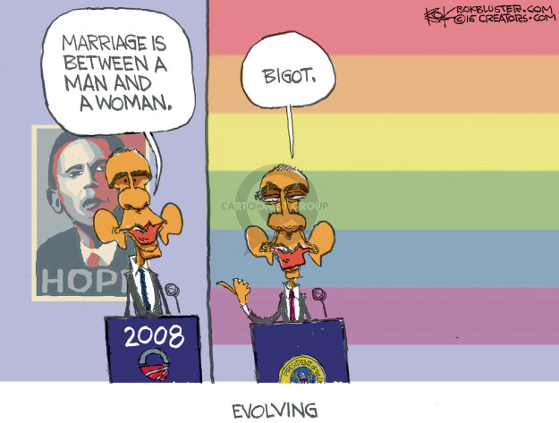 Marriage is between a man and a woman. Hope 2008. Bigot. Evolving.