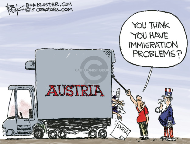 Cartoonist Chip Bok  Chip Bok's Editorial Cartoons 2015-09-01 migrant