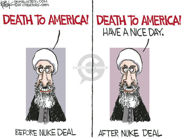 Death to America! Before nuke deal. Death to America! Have a nice day. After nuke deal.