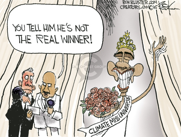 You tell him hes not the real winner! Climate Miss Universe.