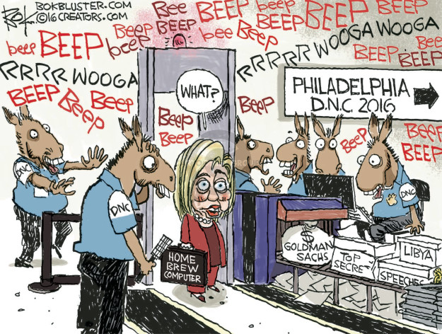Bee. Beep. Rrrrwooga. Rrrrrwooga wooga. What? Philadelphia D.N.C. 2016. DNC. Home brew computer. $ Goldman Sachs. Top secret. Libya. Speeches.