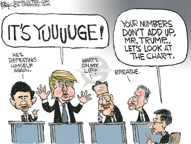 Cartoonist Chip Bok  Chip Bok's Editorial Cartoons 2016-03-05 2016 Republican Debate