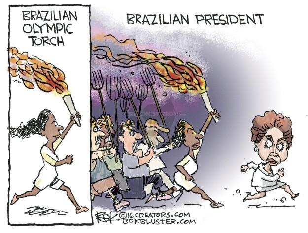 Brazilian Olympic Torch. Brazilian President.