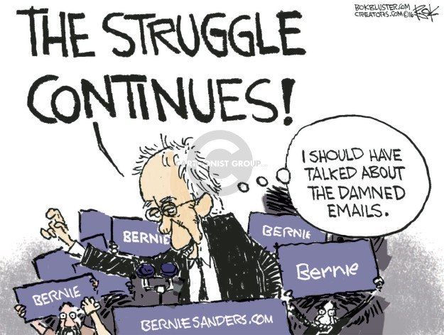 Chip Bok  Chip Bok's Editorial Cartoons 2016-06-09 Bernie Sanders