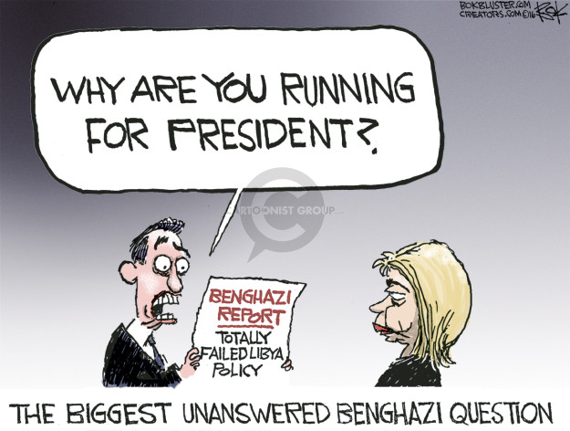 Cartoonist Chip Bok  Chip Bok's Editorial Cartoons 2016-07-01 Benghazi