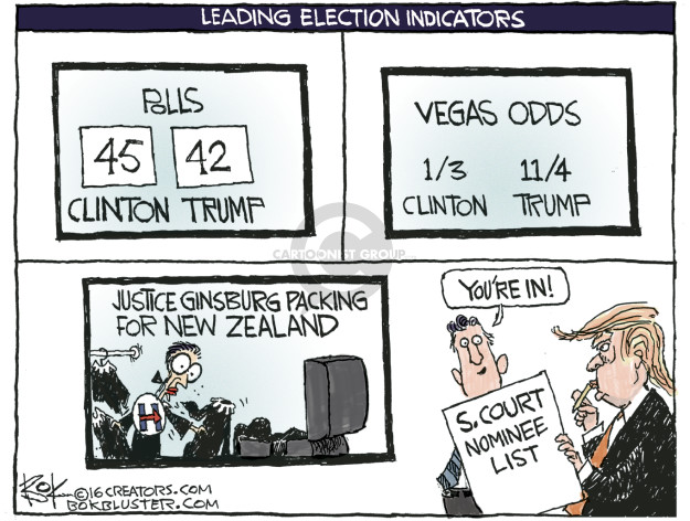 Vegas Odds. 1/3 Clinton. 11/4 Trump. Justice Ginsburg packing for New Zealand. Youre in! S. Court nominee list.