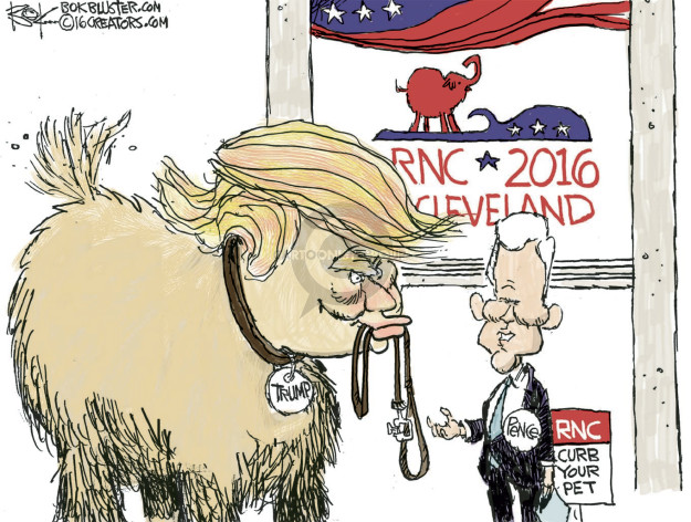 Cartoonist Chip Bok  Chip Bok's Editorial Cartoons 2016-07-14 Mike Pence