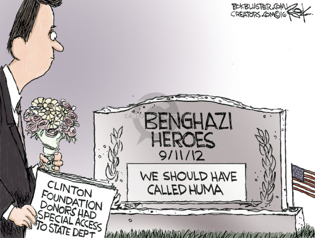 Cartoonist Chip Bok  Chip Bok's Editorial Cartoons 2016-08-25 Benghazi
