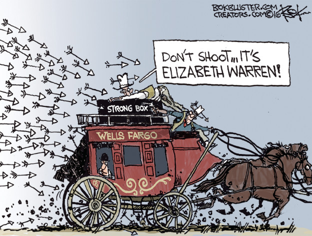 Dont shoot … its Elizabeth Warren! Strong Box. Wells Fargo.