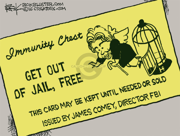 Immunity Chest. Get out of jail, free. This card may be kept until needed or sold. Issued by James Comey, Director FBI. H.