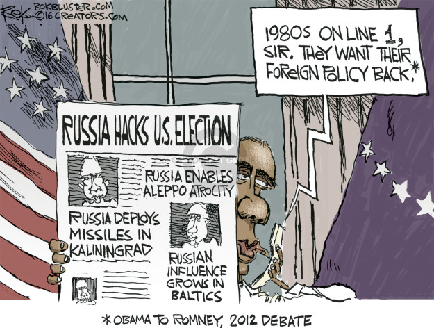Cartoonist Chip Bok  Chip Bok's Editorial Cartoons 2016-12-13 Barack Obama Vladimir Putin