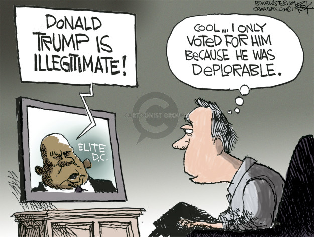 Donald Trump is illegitimate! Elite D.C. Cool … I only voted for him because he was deplorable.
