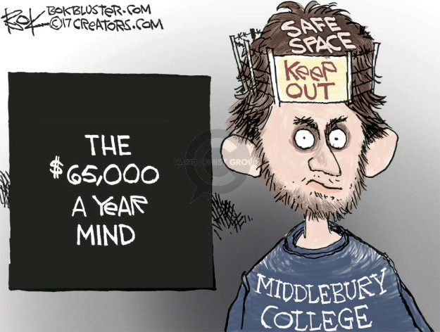 Safe space. Keep out. Middlebury College. The $65,000 a year mind.
