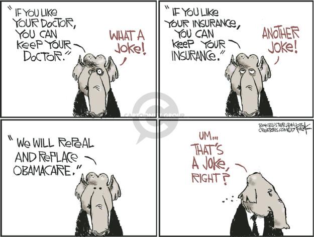 Cartoonist Chip Bok  Chip Bok's Editorial Cartoons 2017-03-16 Obamacare
