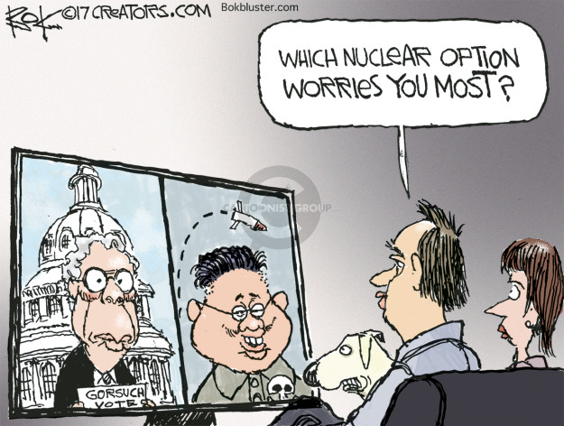 Cartoonist Chip Bok  Chip Bok's Editorial Cartoons 2017-04-06 nuclear