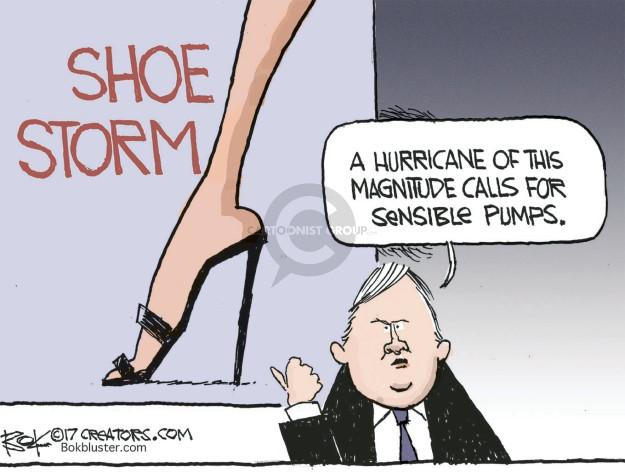 Shoe Storm. A hurricane of this magnitude calls for sensible pumps.