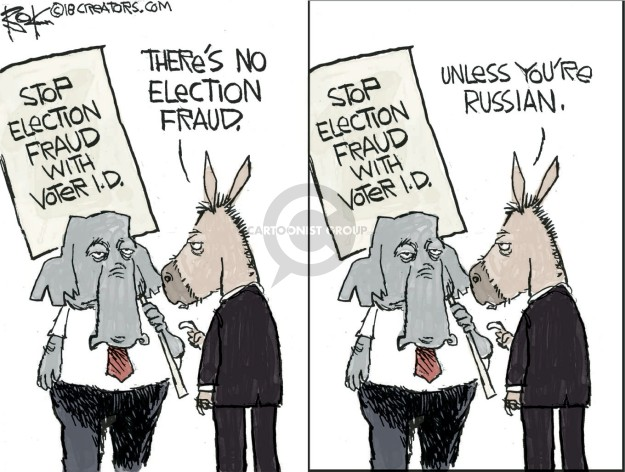 Stop election fraud with voter I.D. Theres no election fraud. Unless youre Russian.
