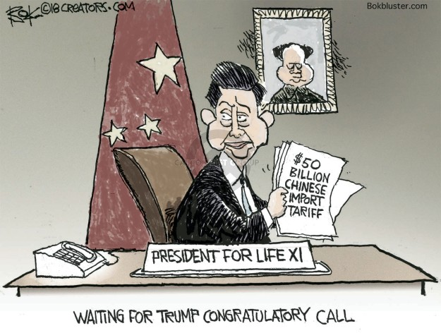 $50 billion Chinese import tariff. President for Life XI.