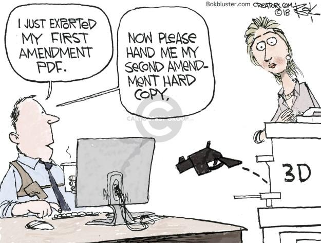 Cartoonist Chip Bok  Chip Bok's Editorial Cartoons 2018-07-31 weapon
