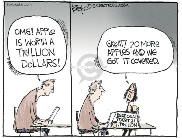 OMG! Apple is worth a trillion dollars! Great! 20 more apples and we got it covered. National debt 21 trillion.