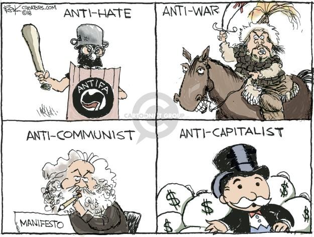 Anti-hate. Anti-war. Anti-communist. Manifesto. Anti-capitalist. $.