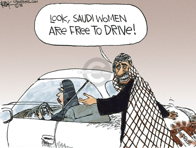 Look, Saudi women are free to drive!