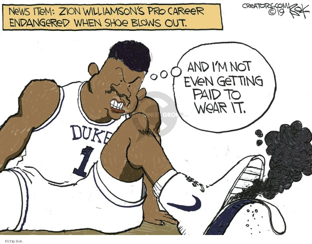 Cartoonist Chip Bok  Chip Bok's Editorial Cartoons 2019-02-27 college sports