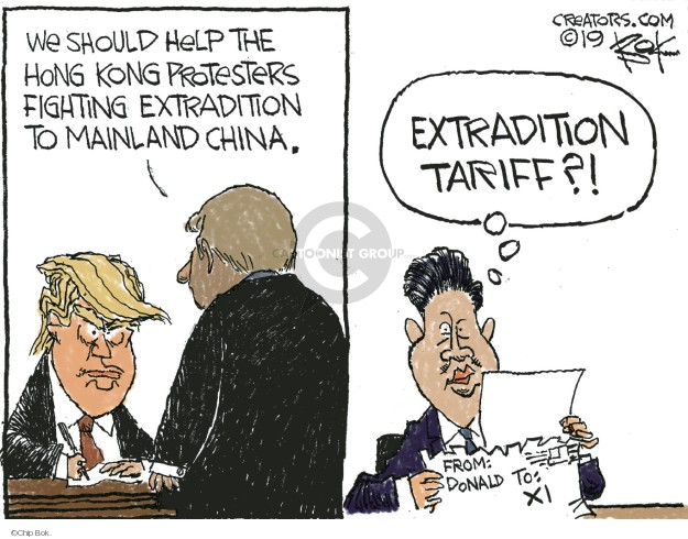 Chip Bok  Chip Bok's Editorial Cartoons 2019-06-15 Donald Trump tariff