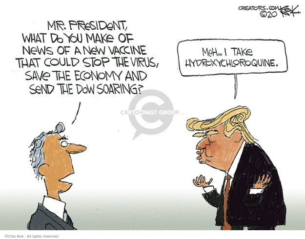 Cartoonist Chip Bok  Chip Bok's Editorial Cartoons 2020-05-20 vaccine