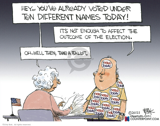 Chip Bok  Chip Bok's Editorial Cartoons 2021-01-06 voter fraud