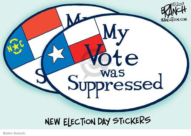My Vote was Suppressed. New election day stickers.