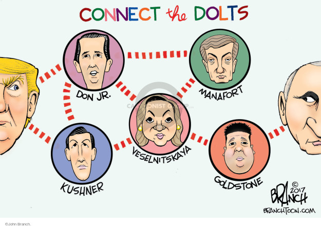 Connect the dots.  Don Jr.  Kushner.  Veselnitskaya.  Manafort.  Goldstone.
