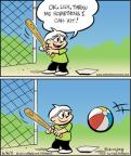 Cartoonist Jay Stephens Bob Weber, Jr.  Oh, Brother! 2011-06-06 throw baseball
