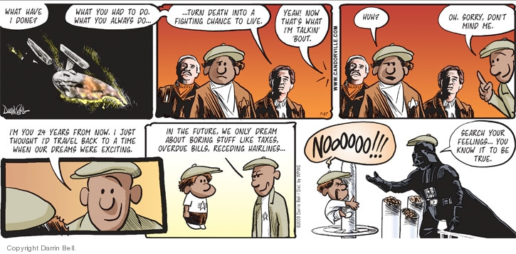 Comic Strip Darrin Bell  Candorville 2008-07-27 Back to the Future