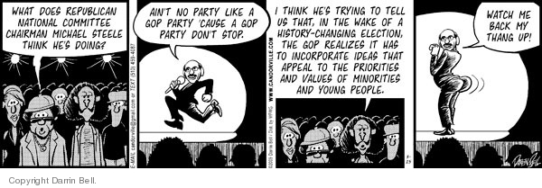 Comic Strip Darrin Bell  Candorville 2009-03-25 GOP