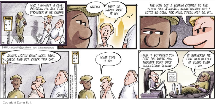 Comic Strip Darrin Bell  Candorville 2009-05-31 bus stop