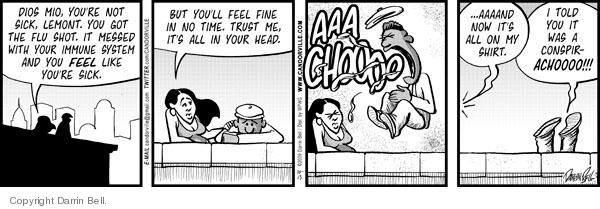 Comic Strip Darrin Bell  Candorville 2009-10-13 get sick