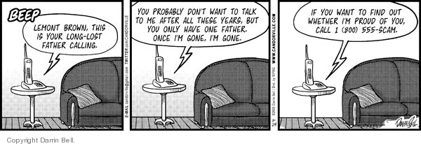 Cartoonist Darrin Bell  Candorville 2009-11-24 fathers and sons