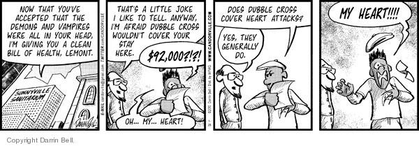 Cartoonist Darrin Bell  Candorville 2010-01-28 heart attack