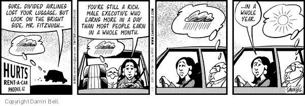 Cartoonist Darrin Bell  Candorville 2012-05-01 lost luggage