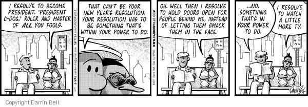 Comic Strip Darrin Bell  Candorville 2011-01-03 new year's resolution