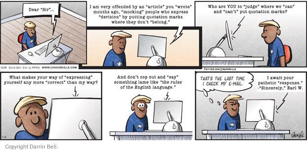 Cartoonist Darrin Bell  Candorville 2011-01-16 language