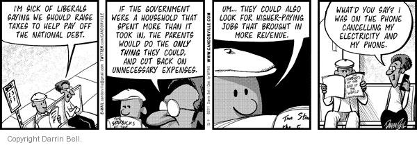Comic Strip Darrin Bell  Candorville 2011-04-23 spending cut